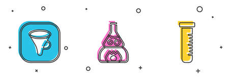 Set Funnel or filter, Test tube flask on fire and and icon. Vector