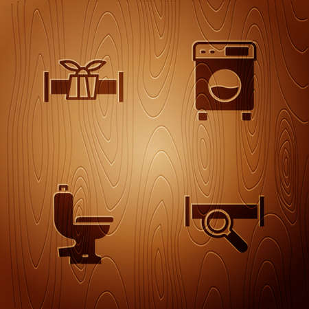 Set Industry metallic pipe, , Toilet bowl and Washer on wooden background. Vector