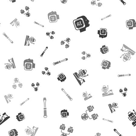 Set Humanoid robot, Artificial intelligence, Robot humanoid driving car and Screwdriver on seamless pattern. Vector