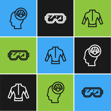 Set line Scallop sea shell, Wetsuit and Diving mask icon. Vector