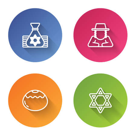 Set line Jewish money bag, Orthodox jewish hat, sweet bakery and Star of David. Color circle button. Vector