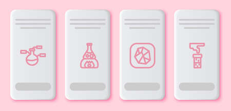 Set line Test tube and flask, on fire, Salt stone and . White rectangle button. Vector