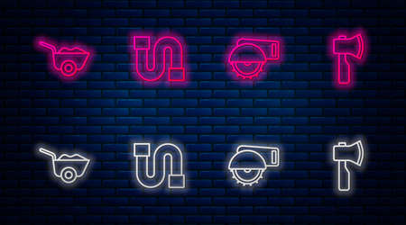 Set line Industry pipe, Electric circular saw, Wheelbarrow and Wooden axe. Glowing neon icon on brick wall. Vector