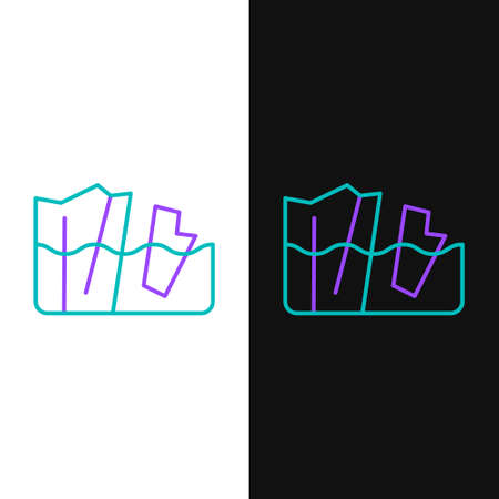 Line Glacier melting icon isolated on white and black background. Colorful outline concept. Vector 向量圖像