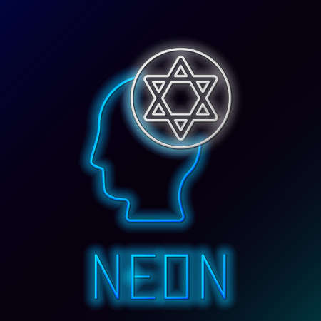 Glowing neon line Orthodox jewish hat icon isolated on black background. Jewish men in the traditional clothing. Judaism symbols. Colorful outline concept. Vector