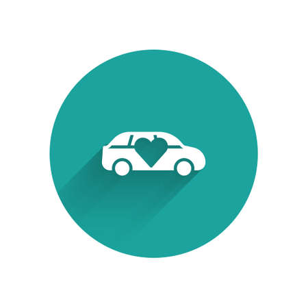 White Luxury limousine car icon isolated with long shadow. For world premiere celebrities and guests poster. Green circle button. Vector