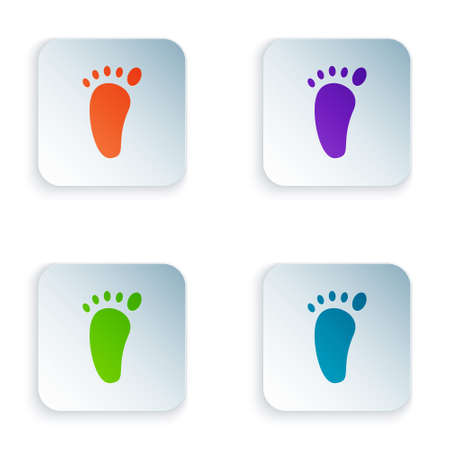Color Foot massage icon isolated on white background. Set colorful icons in square buttons. Vector Vector Illustration