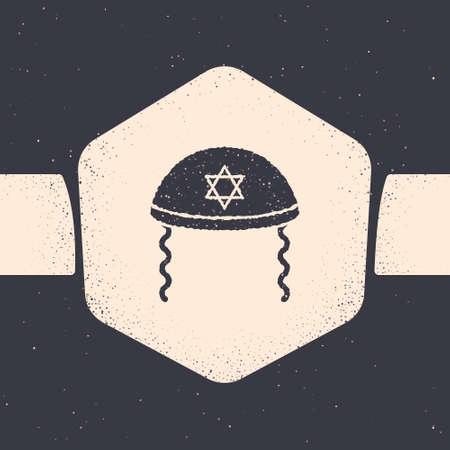 Grunge Jewish kippah with star of david and sidelocks icon isolated on grey background. Jewish yarmulke hat. Monochrome vintage drawing. Vector