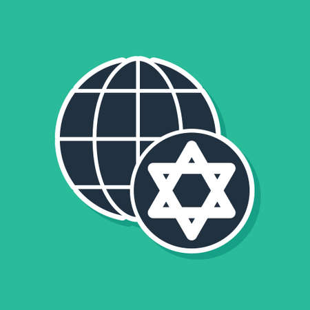 Blue World Globe and Israel icon isolated on green background. Vector  イラスト・ベクター素材
