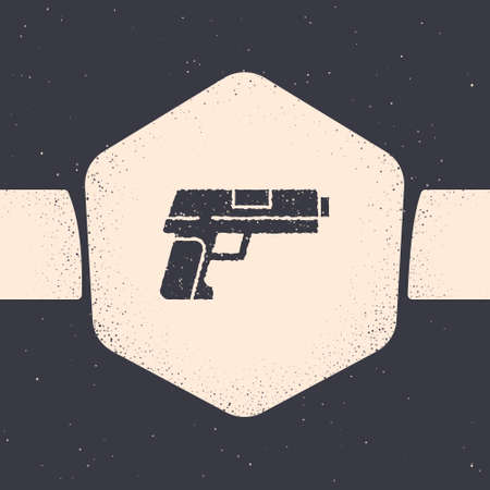 Grunge Pistol or gun icon isolated on grey background. Police or military handgun. Small firearm. Monochrome vintage drawing. Vector Illustration