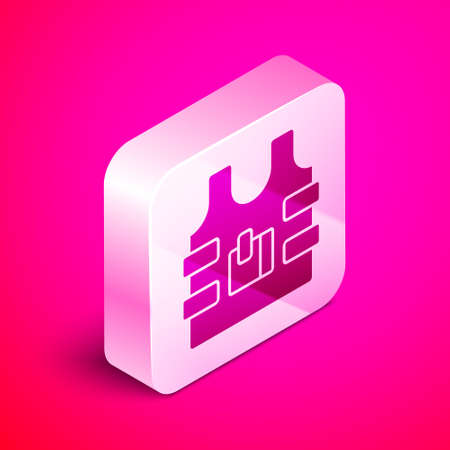 Isometric Bulletproof vest for protection from bullets icon isolated on pink background. Body armor sign. Military clothing. Silver square button. Vector