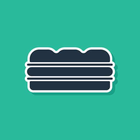 Blue Hamburger icon isolated on green background. Burger food symbol. Cheeseburger sign. Street fast food menu. Vector