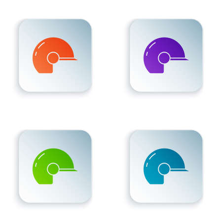 Color Baseball helmet icon isolated on white background. Set colorful icons in square buttons. Vector