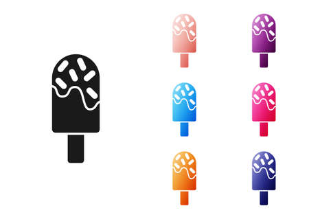 Black Ice cream icon isolated on white background. Sweet symbol. Set icons colorful. Vector