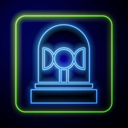 Glowing neon Flasher siren icon isolated on blue background. Emergency flashing siren. Vector