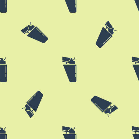 Blue Revolver gun in holster icon isolated seamless pattern on yellow background. Vector