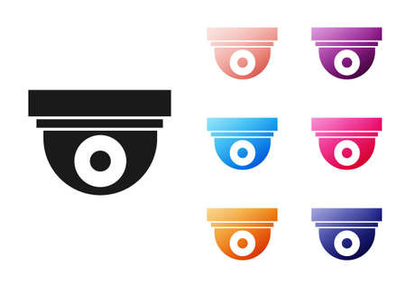 Black Security camera icon isolated on white background. Set icons colorful. Vector Illustration