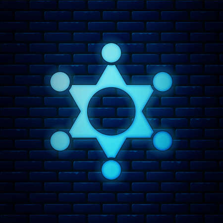 Glowing neon Hexagram sheriff icon isolated on brick wall background. Police badge icon. Vector