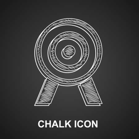 Chalk Target icon isolated on black background. Dart board sign. Archery board icon. Dartboard sign. Business goal concept. Vector
