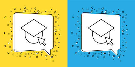 Set line Graduation cap on globe icon isolated on yellow and blue background. World education symbol. Online learning or e-learning concept. Vector Illustration