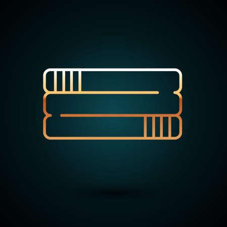 Gold line Towel stack icon isolated on dark blue background. Vector Vektorgrafik