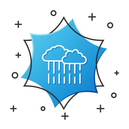 White line Cloud with rain icon isolated on white background. Rain cloud precipitation with rain drops. Blue hexagon button. Vector