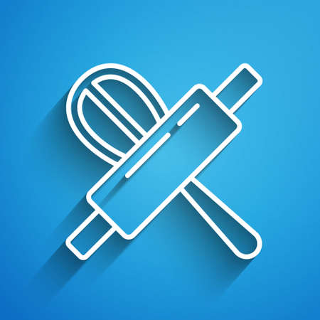 White line Kitchen whisk and rolling pin icon isolated on blue background. Cooking utensil, egg beater. Cutlery sign. Food mix symbol. Long shadow. Vector