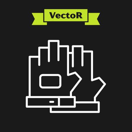White line Gloves icon isolated on black background. Extreme sport. Sport equipment. Vector Vektorgrafik