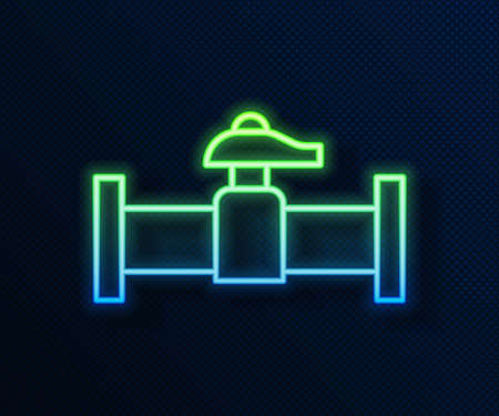 Glowing neon line Industry metallic pipe and valve icon isolated on blue background. Vector