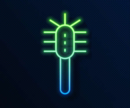 Glowing neon line Toilet brush icon isolated on blue background. Vector Иллюстрация