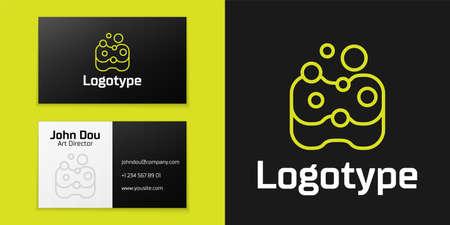 Logotype line Sponge icon isolated on black background. Иллюстрация