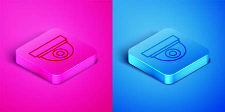 Isometric line Security camera icon isolated on pink and blue background. Square button. Vector