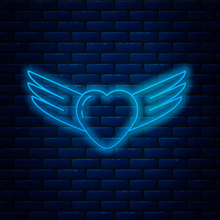Glowing neon line Heart with wings icon isolated on brick wall background. Love symbol. Valentines day. Vector