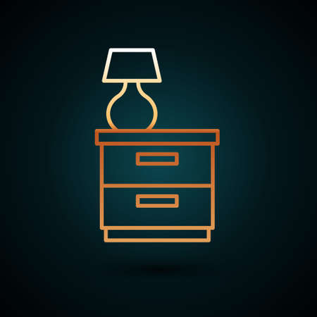 Gold line Furniture nightstand with lamp icon isolated on dark blue background. Vector Ilustración de vector