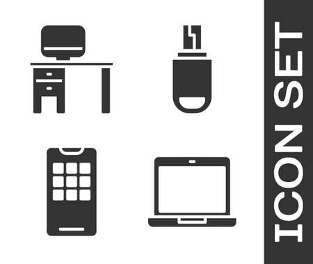 Set Laptop, Computer monitor and desk, Mobile phone and USB flash drive icon. Vector