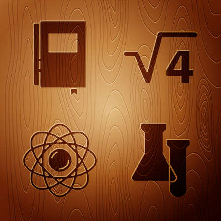 Set Test tube and flask, Book, Atom and Square root of 4 glyph on wooden background. Vector