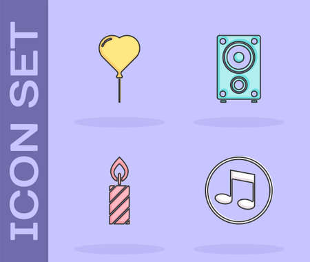Set Music note, tone, Balloon in form of heart, Birthday cake candles and Stereo speaker icon. Vector Foto de archivo - 164678953