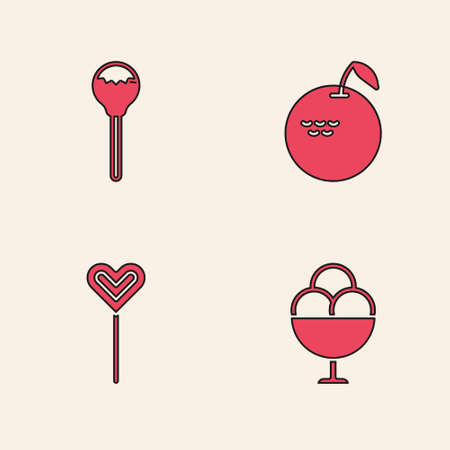 Set Ice cream in bowl, Lollipop, Apple and icon. Vector