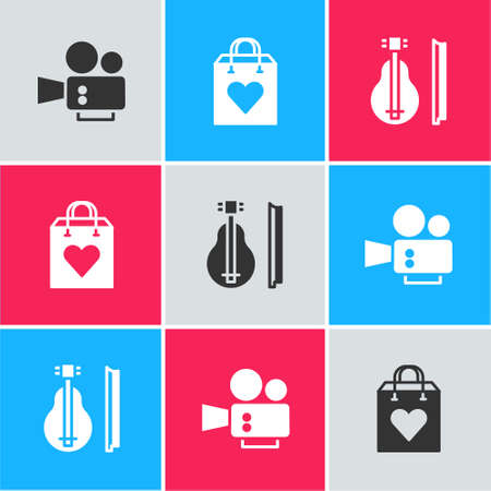 Set Cinema camera, Shopping bag with heart and Violin icon. Vector