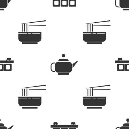 Set Sushi on cutting board, Japanese tea ceremony and Asian noodles in bowl and chopsticks on seamless pattern. Vector