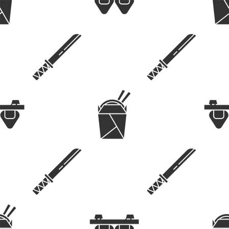 Set Sushi on cutting board, Asian noodles in paper box and chopsticks and Traditional Japanese katana on seamless pattern. Vector 向量圖像