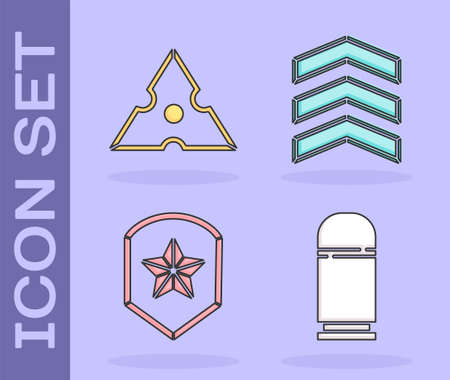 Set Cartridges, Japanese ninja shuriken, Police badge and Military rank icon. Vector Illustration