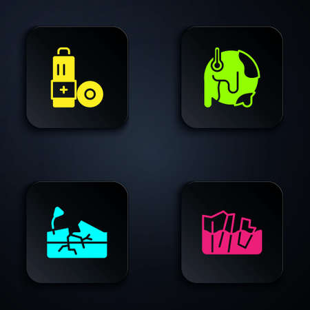 Set Glacier melting, Battery, Earthquake and Global warming. Black square button. Vector