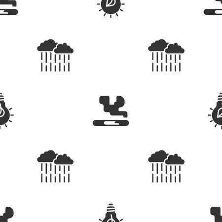 Set Light bulb with leaf, Cigarette and Cloud rain on seamless pattern. Vector