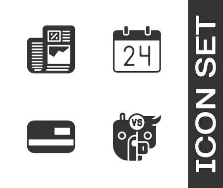 Set Bull and bear of stock market, Business finance report, Credit card and Calendar icon. Vector Illusztráció