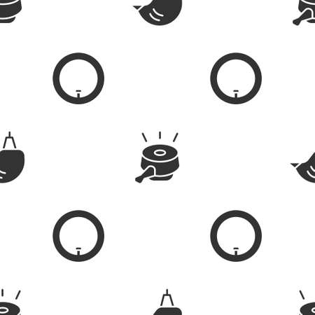 Set Bicycle helmet, bell and wheel on seamless pattern. Vector