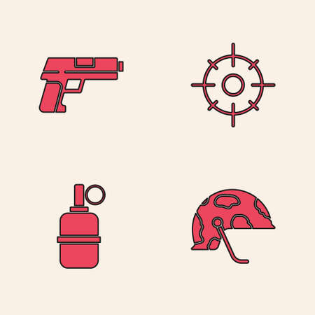 Set Military helmet, Pistol or gun, Target sport and Hand grenade icon. Vector Illustration