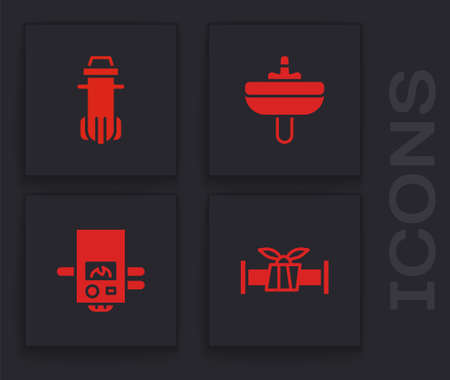 Set Industry metallic pipe, Water filter, Washbasin and Gas boiler icon. Vector Ilustração