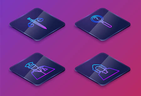 Set Isometric line Scales of justice, Police officer, Magnifying glass with search and Judge. Blue square button. Vector