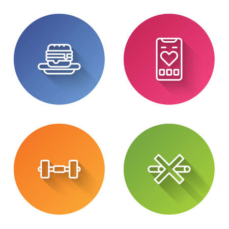 Set line Junk food, Mobile with heart rate, Dumbbell and No Smoking. Color circle button. Vector Illusztráció